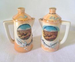 Mid-century Lusterware SALT PEPPER SHAKER teapot shape Painted Desert Dr... - $17.63