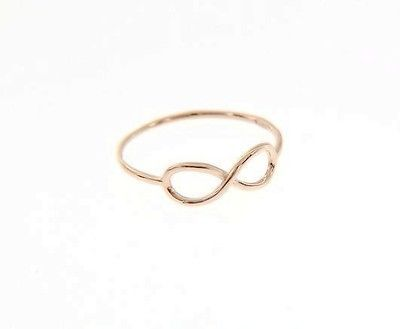 18K ROSE GOLD INFINITE CENTRAL RING, INFINITY, SMOOTH, BRIGHT, MADE IN ITALY