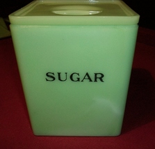 Jadite Jeannette Square Sugar Canister with Poinsettia Lid - $150.00