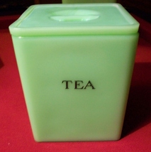 Jadite Jeannette Square Tea Canister with Poinsettia Lid - $150.00