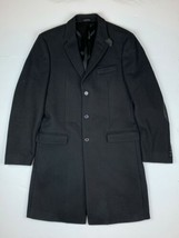 Michael Kors Collection Coat overcoat Wool Black leather patches Men Sz ... - $225.00
