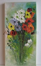 Anemones Bouquet Original Oil Painting Impressi... - $74.00