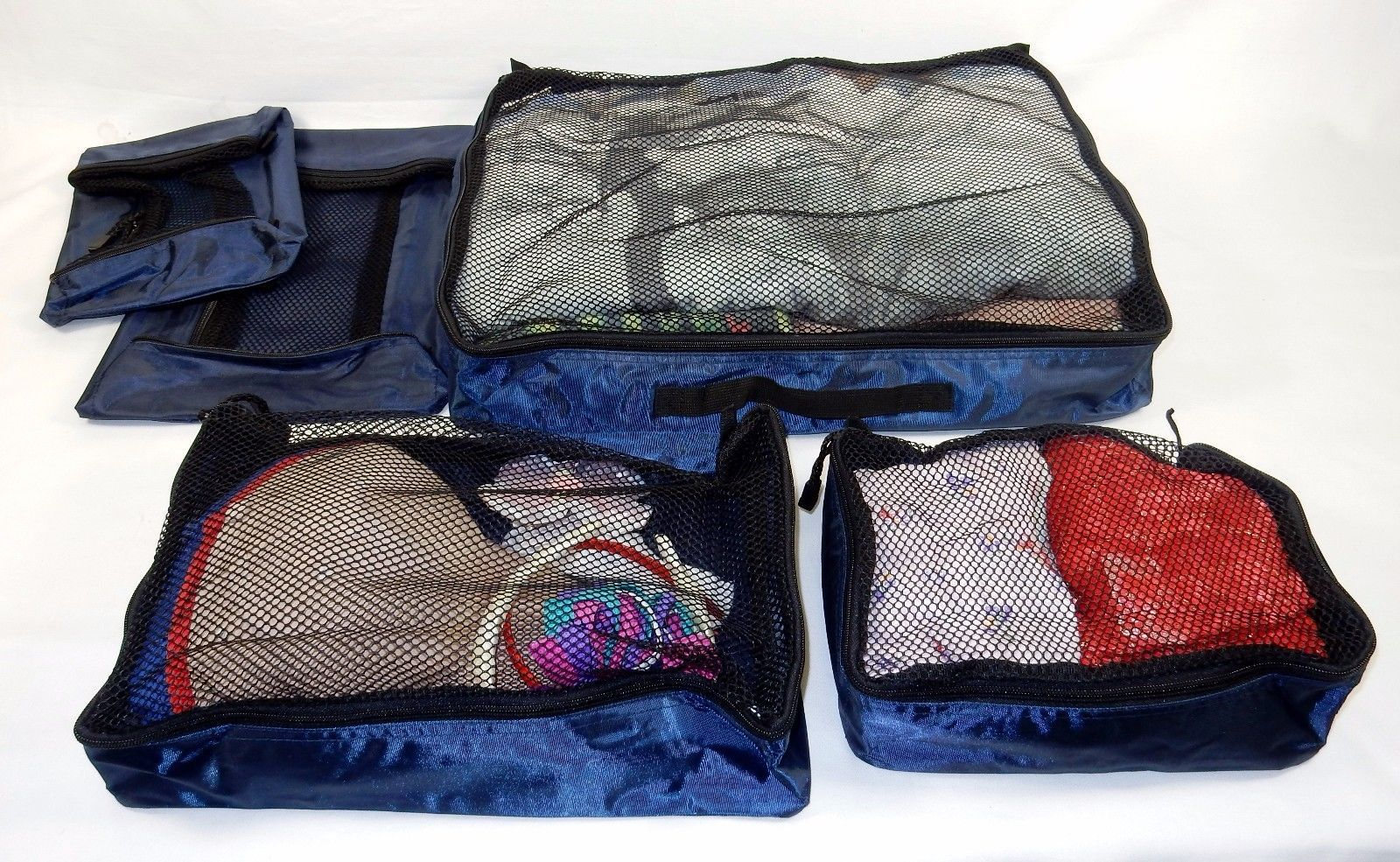 Suitcase Organizers ~ Set of 5 Zippered Packers, Keep Things Neat, Nylon, Navy