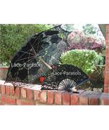 Black Battenburg Lace Parasol with Lace Fan - $44.00