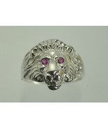 New 925 Sterling Silver Detailed Lion King of the Jungle ruby eyes ring ... - $49.11