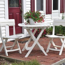 3 Piece Patio Bistro Set Balcony Garden Yard Dining Furniture Folding Wh... - $109.99