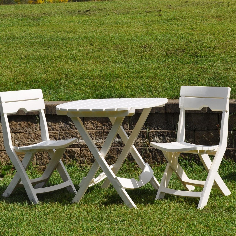 3 Piece Patio Bistro Set Balcony Garden Yard Dining Furniture Folding White