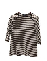 XS Extra Small WHO WHAT WEAR Women's Black Stripe Top 3/4 Sleeve Shirt NWT - $9.74