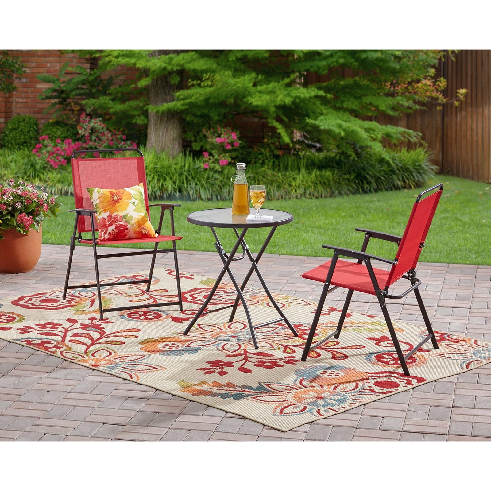 Outdoor patio bistro set 3 piece garden cafe backyard yard folding chairs red