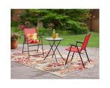 Outdoor patio bistro set 3 piece garden cafe backyard yard folding chairs red thumb155 crop