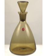 Vintage small blown glass decanter smoky topaz ... - $25.00