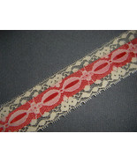 Vintage Red and Ivory Lace Ribbon 2 yards, vintage ribbon, red ribbon - $6.00