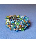 Turquoise Millefiori Glass Wrap Bracelet - Cube... - $24.50