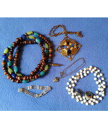 Mixed Jewelry Lot - vintage and modern necklaces, rings, pin, bracelet - $12.00