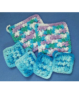 Cotton Crochet Spa Set, 2 washcloths and 4 face... - $15.00