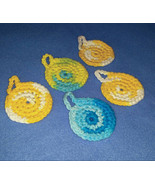 Five Yellow and Blue Mini Cotton Face Scrubbies - handmade reusable cott... - $6.00
