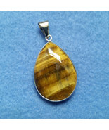 Tiger Eye Teardrop Pendant with Silver Plated O... - $19.00