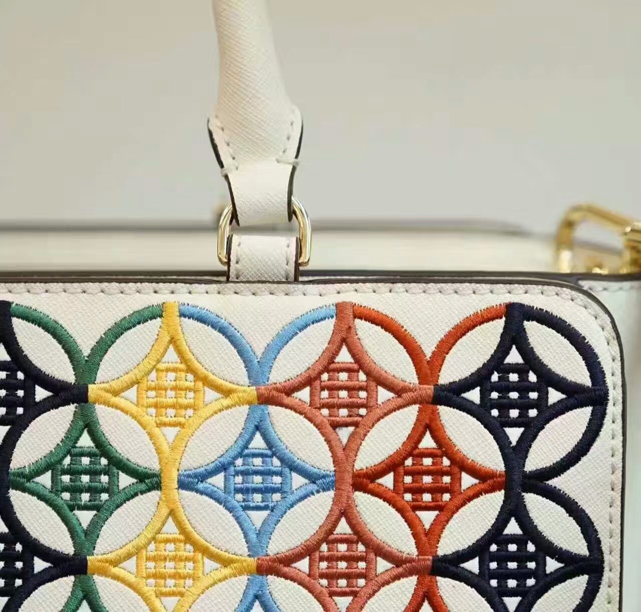 Tory Burch Robinson Embroidered Small Zip Tote image 6