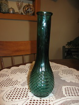 """VTG Teal Pressed Glass-Bud Vase-9""""-1980's - $9.00"""