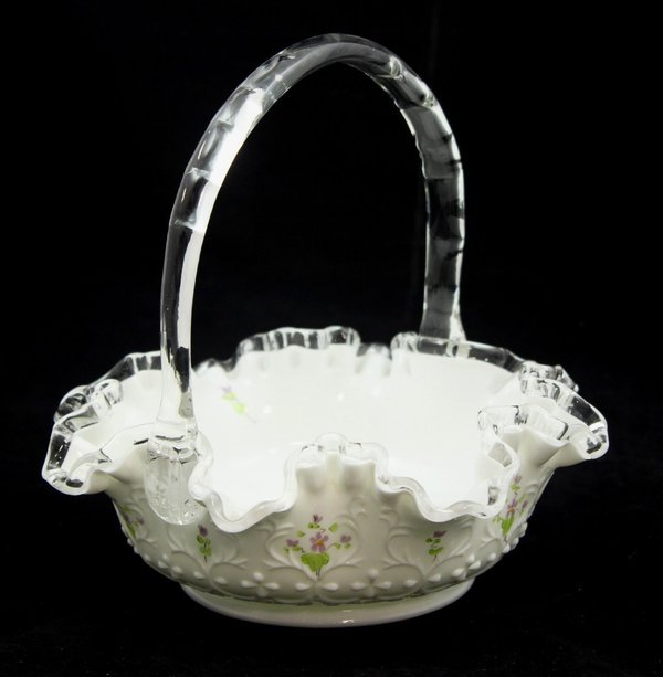 Primary image for Fenton Spanish Lace Violets in the Snow 8 Inch Basket with Clear Handle