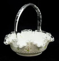 Fenton Spanish Lace Violets in the Snow 8 Inch Basket with Clear Handle - $50.00