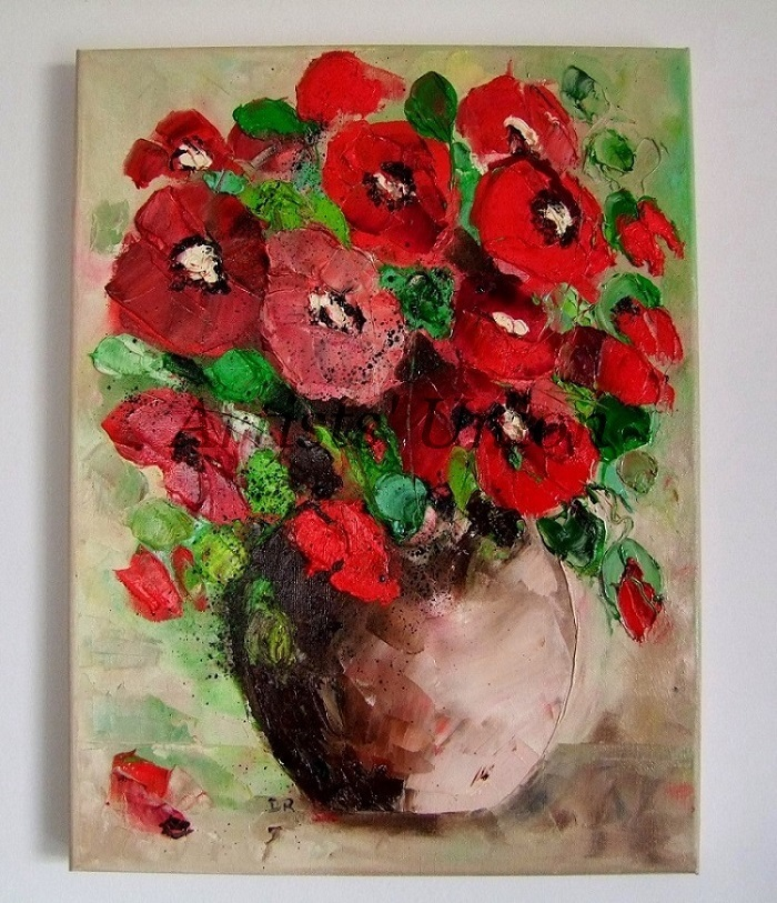 RED POPPIES Bouquet IMPASTO Original Oil Painting Impressionism European Artist