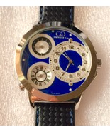 Curtis & Co Big Time World 50mm 3-Time Zone Stainless Steel Watch Blue NEW! - $750.00