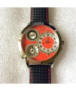 Curtis & Co Big Time World 50mm 3-Time Zone Stainless Steel Watch Red NEW! - $750.00