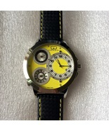 Curtis & Co Big Time World 50mm 3-Time Zone Stainless Steel Watch Yellow... - $750.00