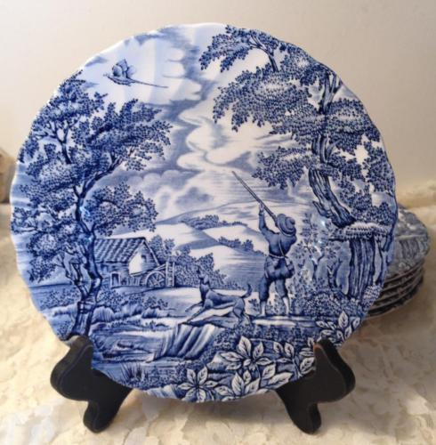 Myott Stafforshire The Hunter Salad Plate Blue White Transferware England