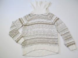INC International Concepts Cowl-Neck Striped Sweater, Cream, Sz. XLarge - $35.64