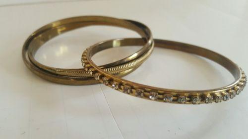Vintage Style Bracelet bronze tone metal  Interlocking Multi Bangles Costume