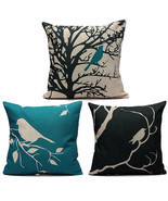 45X45CM Bird Vintage Linen Cotton Cushion Cover... - $16.68 CAD