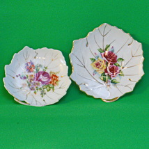 Matching Pair Of Leaf-Shaped Porcelain Floral Trinket Or Sauce Dishes - $3.95