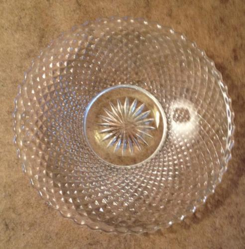 5 Heisey Diamond Point (Line #1454)  Individual Jelly Plate Ashtray Criss-Cross