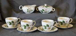RARE Johnson Bros Dogwood Blossoms Tea Set Creamer Sugar Cups Saucers Go... - $74.50