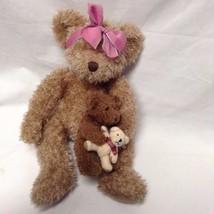 "Russ Plush Marmie 15"" tall Mama with Baby with Teddy Bear VGC CUTE - $15.79"