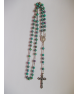 Rosary Silver with Teal and Multicolor Beads  - $3.99