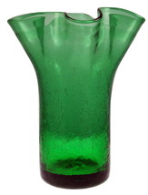 Vintage green ruffled fluted crackle glass vase 6.5 inch smooth pontil - $18.00
