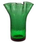 Vintage green ruffled fluted crackle glass vase... - $18.00