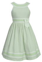 Big Girl Tween Plus Size Lime-Green Metallic Pencil Stripe Dress, Bonnie Jean