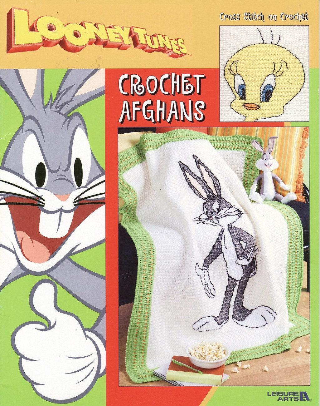 Looney Tunes Afghan Crochet Patterns Book Bugs Bunny Tweety Bird Taz Sylvester
