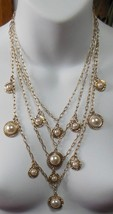 Ann Taylor 4 Strand Gold Plated Chain Necklace W/Pearls   - $24.26