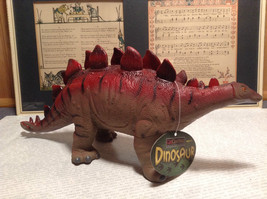 Stegosaurus Geo Central Red and Brown Rubber Toy Dinosaur New with Tag image 2