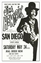 Jimi Hendrix Concert Poster 1969 San Diego, Rep... - $11.30