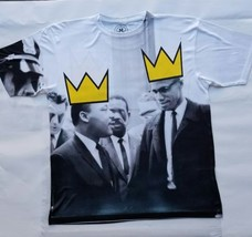 Malcolm X Martin Luther King T Sublimated shirt black history leader royalty bhm - $33.99