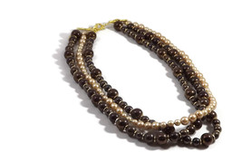 Multi strand handmade beaded necklace in brown ... - $18.99