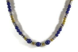 Handmade Blue and Gold Beaded Necklace, Perfect... - $9.99