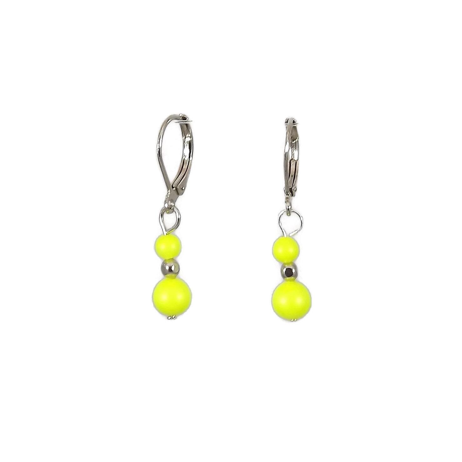neon yellow swarovski pearl beaded earrings for
