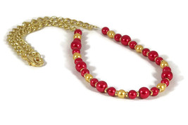 Red and gold handmade beaded necklace to coordi... - $9.99